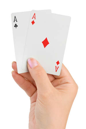 Hand with two aces isolated on white background photo