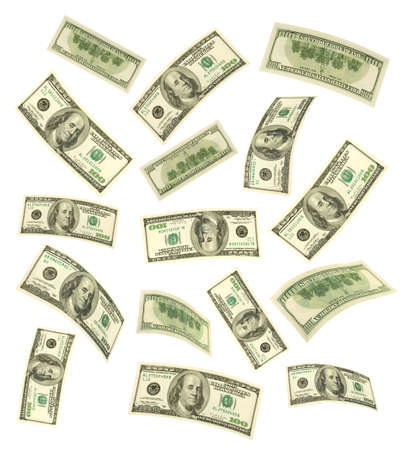 Falling money isolated on white background photo