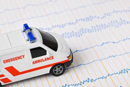 скорая помощь: Toy ambulance car on ecg - medical background