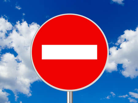 Round sign No Entry - sky on background photo