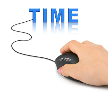 Hand with computer mouse and word Time - business concept Stock Photo - 8431795