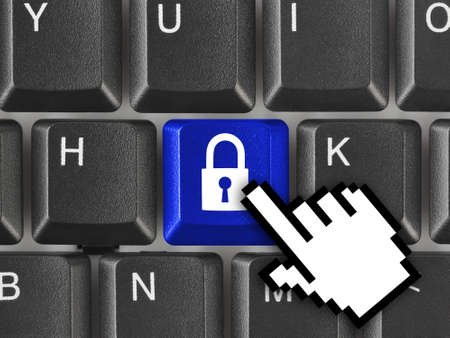 Computer keyboard with security key - technology concept Stock Photo - 8431800