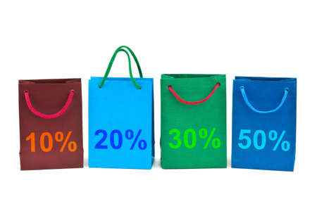 Multicolored shopping bags isolated on white background photo