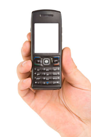 Hand with mobile phone isolated on white background Stock Photo - 8557913