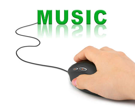 play music: Hand with computer mouse and word Music - internet concept