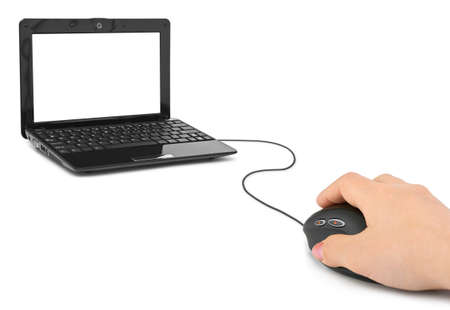 Hand with computer mouse and notebook isolated on white background Stock Photo - 8656606