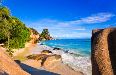 d'argent: Tropical beach Source DArgent at Seychelles - vacation background Stock Photo