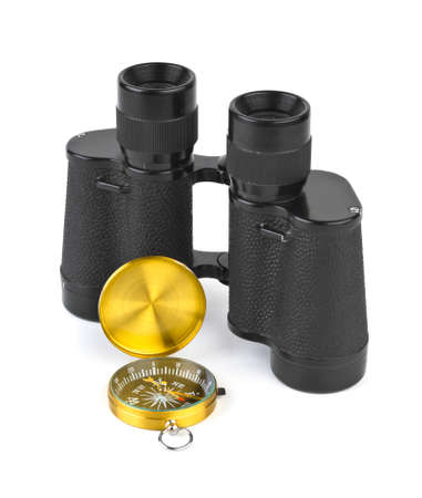 Binoculars and compass - travel concept Stock Photo - 8686627