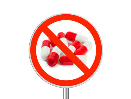 Sign No pills isolated on white background photo