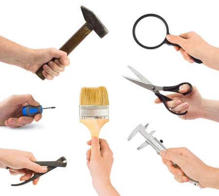 alicates: Conjunto de manos con herramientas aisladas sobre fondo blanco Foto de archivo