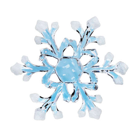 snow falling: Toy snowflake - isolated on white background Stock Photo