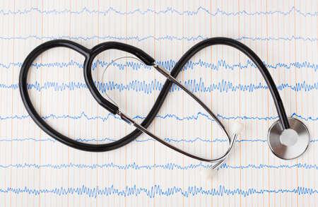 Stethoscope on ecg - medical background Stock Photo - 8805028