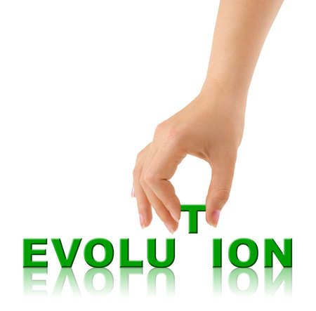 Hand and word Evolution isolated on white background photo