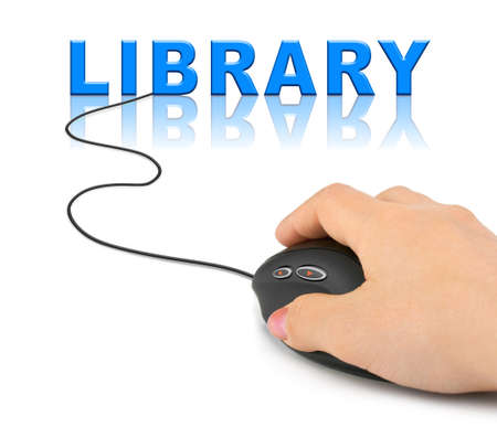 Hand with computer mouse and word Library - internet concept photo