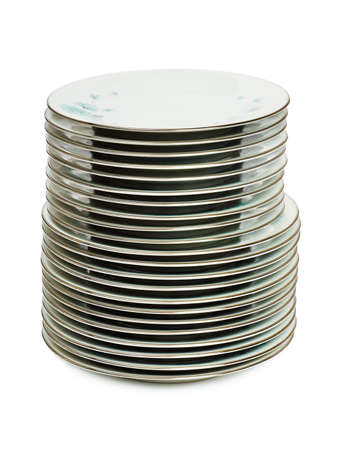 Stack of plates isolated on white background Stock Photo - 8805086