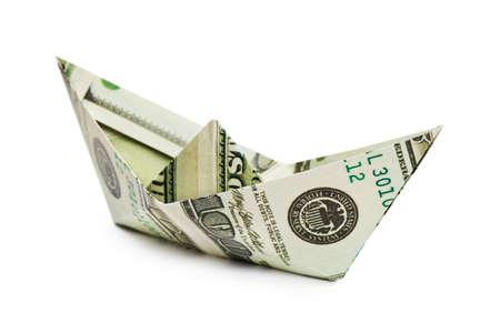 Ship made of money isolated on white background photo