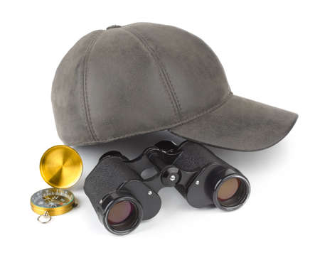Binoculars, compass and cap - travel concept Stock Photo - 8805129