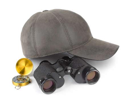 Binoculars, compass and cap - travel concept Stock Photo - 8805129
