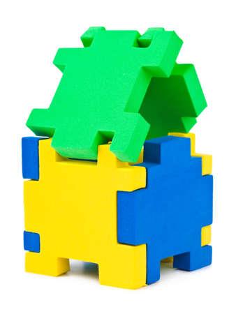 House made of puzzle isolated on white background Stock Photo - 8805194