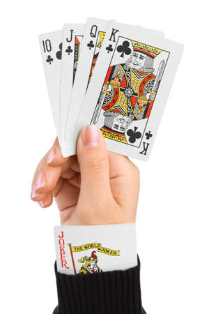 Hand and joker in sleeve isolated on white background