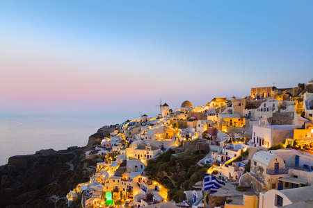 volcano slope: Santorini sunset (Oia) - Greece vacation background