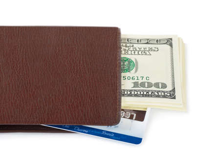 bancomat: Wallet, money and credit card isolated on white background Stock Photo