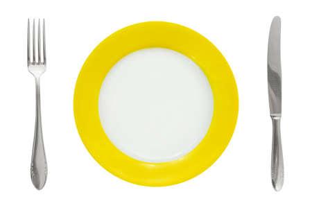 Platte, Gabel und Messer isolated on white background