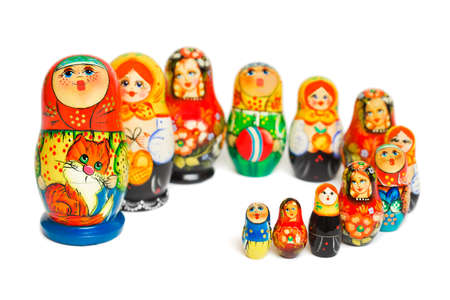 Russian toy matrioska isolated on white background photo