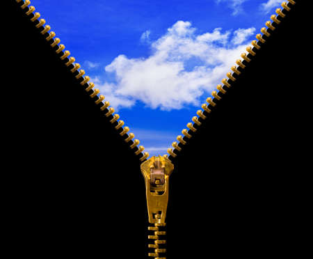 Zipper and sky isolated on black background Stock Photo - 8908808