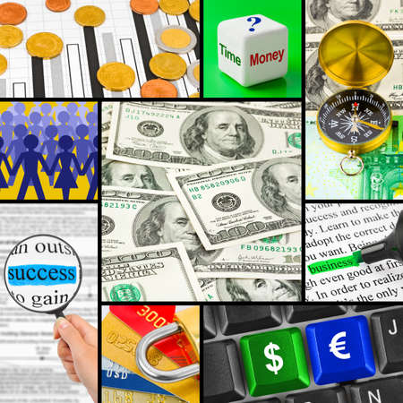 Collage of business images (my photos) - concept background  photo