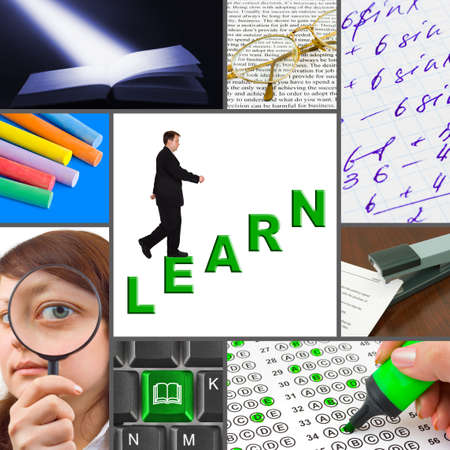 computer learning: Collage of education images (my photos) - concept background