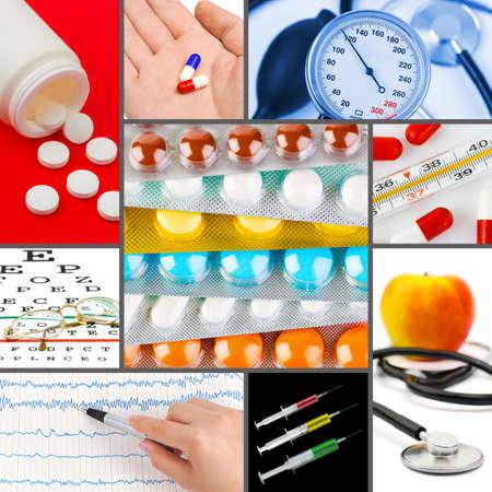 pills in hand: Collage de im�genes m�dicas (mis fotos) - Fondo de salud