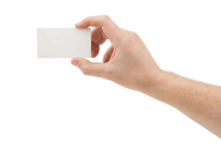 holding business card: Paper card in hand isolated on white background Stock Photo