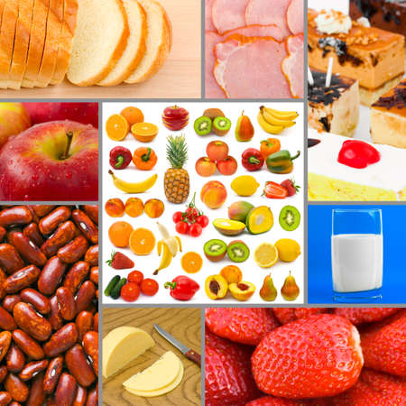 nutrition health: Collage of food images (my photos) - concept background  Stock Photo