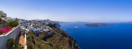 firostefani: Santorini panorama (Firostefani) - vacation background