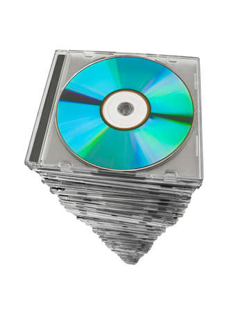 Stack of disks isolated on white background photo