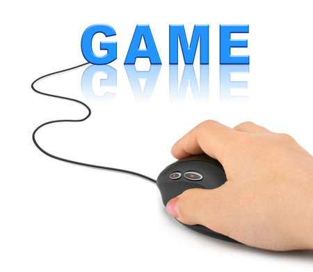 Hand with computer mouse and Game - technology concept photo