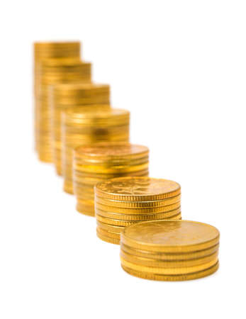 Gold money staircase isolated on white background photo