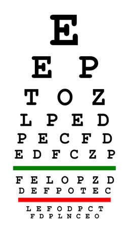 diopter: Eyesight test chart isolated on white background