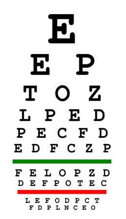 eyesight: Eyesight test chart isolated on white background