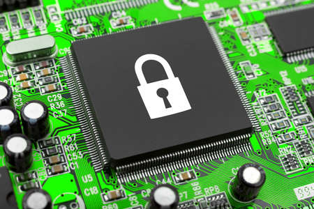 bug key: Lock on computer chip - technology security concept Stock Photo