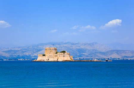 Bourtzi castle island in Nafplion, Greece - architecture background