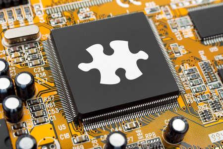 circuito integrado: Puzzle en equipo chip - fondo de tecnolog�a