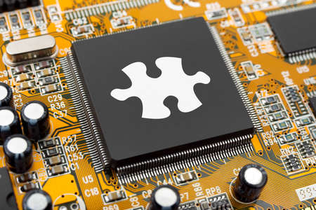 cpu: Puzzle on computer chip - technology background