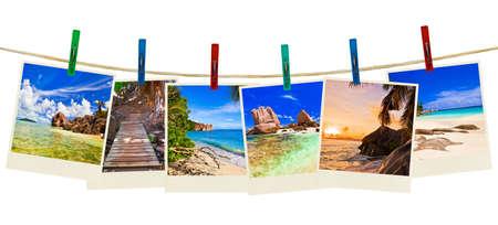 group picture: Fotograf�a de playa de vacaciones en clothespins aislados en fondo blanco