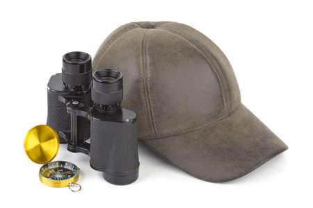 Binoculars, compass and cap - travel concept Stock Photo - 9139254