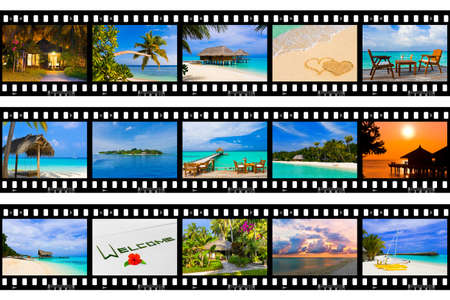 Frames of film - nature and travel (my photos), isolated on white background photo