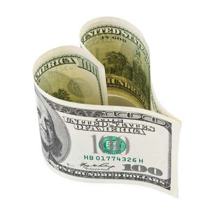 Money heart isolated on white background photo