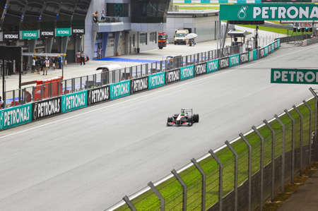 First practice at Formula 1 GP, April 8 2011 in Sepang, Malaysia. Sergio Perez, team Sauber Stock Photo - 9338350
