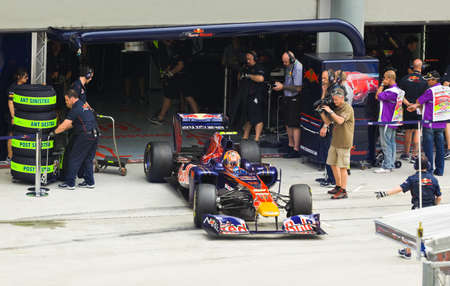 First practice at Formula 1 GP, April 8 2011 in Sepang, Malaysia. Jaime Alguersuari, team Scuderia Toro Rosso